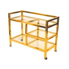 Mid-Century Brass Bar Cart