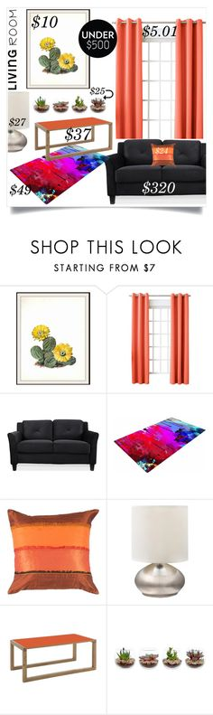 """""""Living Room Under $500 (challenge accepted:$497!)"""" by aharcaki ❤ liked on Polyvore featuring interior, interiors, interior design, home, home decor, interior decorating, WALL, Sun Zero, Home Decorators Collection and living room"""