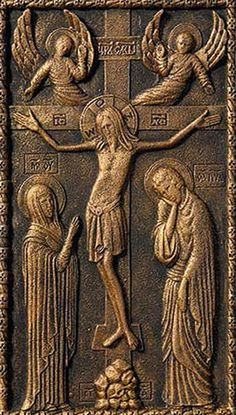 "$12.00 Panel Picture ""The Crucifixion"" from the Workshop of St. Elisabeth Convent - http://catalog.obitel-minsk.com/ #gypsum #polymer #cross #orthodox #crucifix #cross #delivery #order #online"