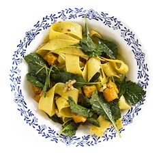 Pappardelle with Butternut Squash, Walnuts, and Baby Kale | SAVEUR  added pancetta. roasted squash with fresh garlic. use less butter next time. gluten free pasta & ghee. Subbed spinach for kale.