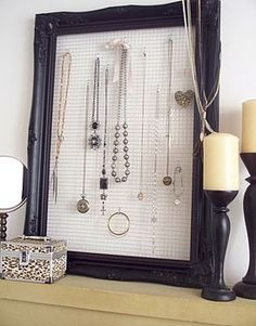 Jewelry holder using wire mesh and s hooks