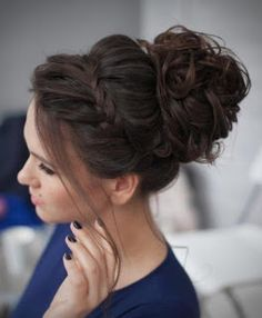 Messy bun with accent braid simple elegant hairstyles, pretty hairstyles, wedding hairstyles, braided Curly Homecoming Hairstyles, Bridesmaids Hairstyles, Hair For Bridesmaids, Bridesmaid Hair Brunette, Bridesmaid Hair Updo Braid, Graduation Hairstyles, Quinceanera Hairstyles, Prom Hairstyles Updos For Long Hair, Pageant Hairstyles