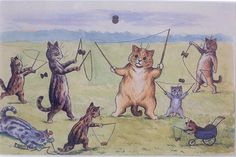 Wain também adorava especialmente desenhar gatos envolvidos em atividades humanas.