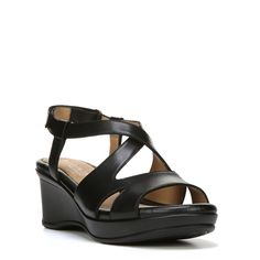 0e0be72404a Naturalizer Women s Villette Narrow Medium Wide Wedge Sandals (Black Leather)  - 10.0
