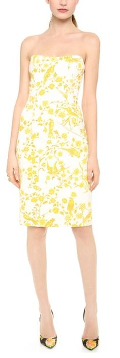 #yellow strapless floral dress http://rstyle.me/n/kj34nr9te