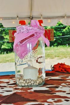 Setting the Mood: Western Party Candles in mason jars! Barn Parties, Western Parties, Cowgirl Birthday, Cowgirl Party, Western Centerpieces, Western Decorations, 3rd Birthday Parties, 21st Party, 80th Birthday