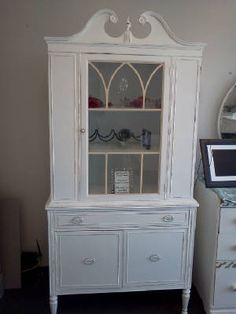 Vintage Painted & Distressed China Cabinet, Hutch. White and distressed. $359.00
