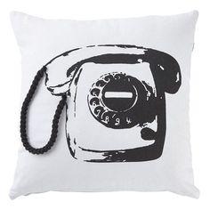 Housse de coussin Phone 45x45 cm noir DUTCH DECOR