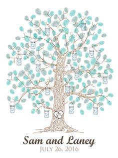 Mason Jar Wedding Thumbprint Tree Guest book Rustic Fingerprint guestbook alternative by EverLovingAdelaide on Etsy https://www.etsy.com/listing/195827828/mason-jar-wedding-thumbprint-tree-guest