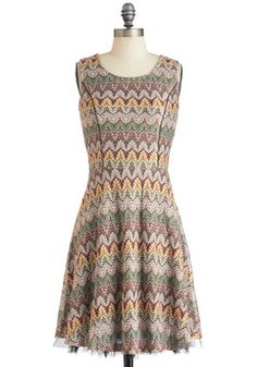 Free to Deciduous Dress. Flaunt your love of natures palette by wearing this multicolor, leaf-patterned, A-line dress! #multi #modcloth