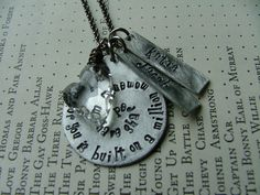 www.MyBellaMarketplace.com  #MyBellaMarketplace  My love for you is built on a million moments we have shared Custom Hand Stamped Aluminum Teardrop Necklace by MyBella