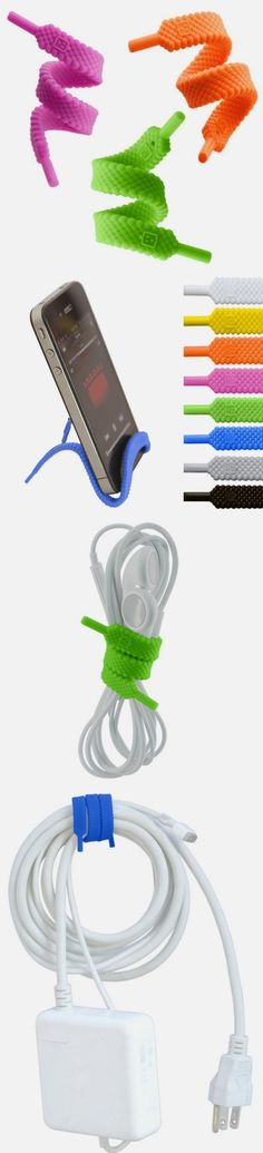 Multifunctional phone accessory // looks like shoelace - becomes cord storage, cable tie, phone stand, ear bud holder etc.