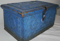Antique 1814 Blue Paint Norwegian Chip Carved Document Wood Box ...