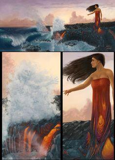 HAWAII - Pele met her sister, Namakaokaha`i, goddess of water Hawaiian Legends, Hawaiian Art, Hawaiian Tattoo, Hawaiian Mythology, Hawaiian Goddess, Science Fiction, Polynesian Art, Sacred Feminine, Hawaiian Islands