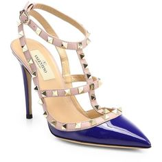 Valentino Rockstud Patent Leather Slingback Pumps (15,925 MXN) ❤ liked on Polyvore featuring shoes, pumps, heels, blue china, t strap pumps, heels & pumps, blue pumps, patent leather pumps and pointy-toe pumps