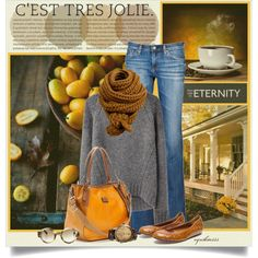 """Fresh Coffee on the Front Porch"" by cynthia335 on Polyvore.  Love the scarf and the color of the purse."