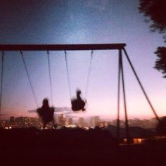 Image via We Heart It #disposablecamera #grunge #indie #swingset #swings