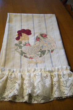Shabby Chic Vintage Striped Fabric Rooster Tea by grandystrunk, $10.00