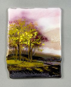 Autumn Dawn Fused Glass Art by Alice Benvie Gebhart💗 Glass Wall Art, Fused Glass Art, Mosaic Glass, Stained Glass, Glass Plaques, Glass Fusion Ideas, Slumped Glass, Bee Creative, Glass Design
