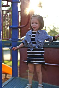 Little girl style, stripes and chambray, crewcuts, peek