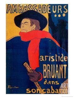 Aristide Bruant, Singer and Composer, at Les Ambassadeurs on the Champs Elysees, Paris, 1892 Giclee Print by Henri de Toulouse-Lautrec at Art.co.uk