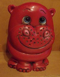 Vintage Red Hippo Children's Bank / Hippopotamus / coin bank / piggy bank / Monster Moola / altered art / re-purpose / kitschy / novelty