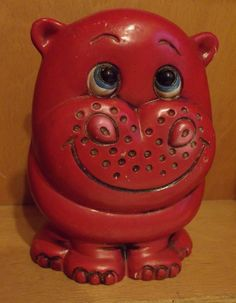 Vintage Red Hippo Children's Bank / Hippopotamus / coin bank / piggy bank / Monster Moola / altered art / re-purpose / kitschy / novelty