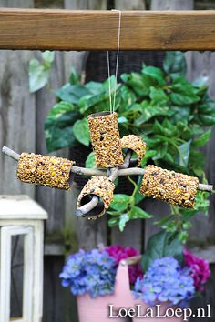 Quick 'n Easy DIY: Bird Feeder Mobile from Toilet Paper Rolls, Peanut Butter Bird Seed winter garden - scout safari Daisies; Make sure your sticks will glue together and TP rolls will fit over any Bird Feeders For Kids To Make, Bird Feeder Craft, Pinecone Bird Feeders, Homemade Bird Feeders, Bird House Kits, Toilet Paper Roll Crafts, Diy Paper, Free Paper, Diy Garden