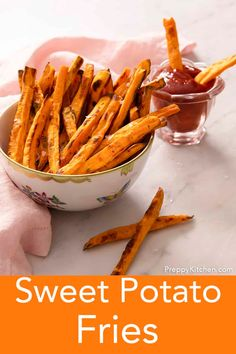 These easy baked sweet potato fries from Preppy Kitchen are a crispy, salty sweet treat that bakes up in your oven in less than 20 minutes. No deep fryer needed means you can have a double portion guilt-free! Dress them up with your favorite spices and enjoy. #sweetpotatofries #bestfries #bestsweetpotatofries Bacon Appetizers, Great Appetizers, Easy Appetizer Recipes, Peeling Potatoes, Fries In The Oven, Fried Potatoes, Sweet And Salty, Vegetable Recipes, Sweet Potato