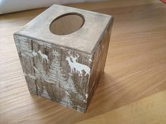 Wood tissue box cover. Christmas decor. Wood tissue box. Wood
