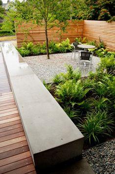 Ideas Backyard Landscaping Concrete Pea Gravel For 2019 Modern Landscape Design, Modern Landscaping, Backyard Landscaping, Landscape Walls, Small Gardens, Outdoor Gardens, Concrete Garden Bench, Concrete Wall, Concrete Stone