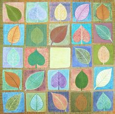 Jennifer Baird, Leafy squares.         Cut out leaves and quilt them. Good practice going over the stitching lines