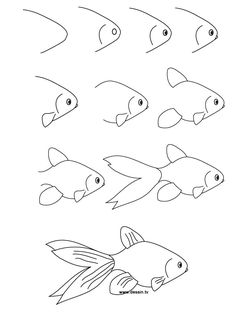 How to draw a goldfish, step-by-step. (art, kids, drawing lesson)