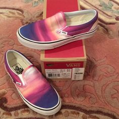 HTF VANS CLASSIC SLIP-ON in SUNSET 8 HTF VANS CLASSI SLIP-ON IN SUNSET (purple/true white) size is a women's 8.0 and men's 6.5. These were my favorite but I only wore them twice after purchasing for full price on Revolve Clothing. Looks amazing with crops and even cute dresses! Perfect for spring and summer! Box included! Vans Shoes Athletic Shoes