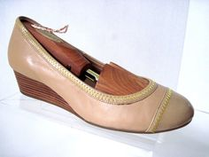 COLE HAAN Sandstone Leather Patent Cap Toe ELSIE Wedges (40mm) Size 6 1/2 B  #ColeHaan #PlatformsWedges
