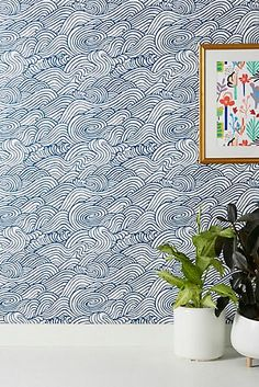 Mare Wave Wallpaper by Anthropologie in Grey, Wall Unique Wallpaper, Geometric Wallpaper, Wallpaper Ideas, Glitter Wallpaper, Wallpaper Samples, Beach House Bathroom, Small Bathroom, Kid Bathrooms, Baby Bathroom