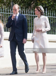 Catherine, Duchess of Cambridge and Prince William, Duke of Cambridge attend Easter Day Service at St George's Chapel on April 16, 2017 in Windsor, England.