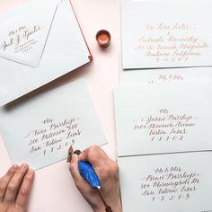 Rainy afternoons spent at my painting desk working on Bespoke wedding envelopes are absolutely blissful! #yaochengdesign #calligraphy #weddingstationery #bespoke #bespokewedding