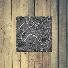 Gallery Wrapped Map Canvas of Paris France - Subtle Contrast