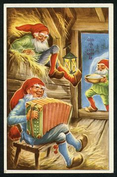 Vintage Greeting Cards, Vintage Christmas Cards, 1st Christmas, Scandinavian Christmas, Christmas Knomes, Nostalgic Pictures, New Years Traditions, Baumgarten, Scandinavian Gnomes