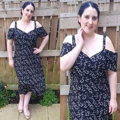 Happy Monday everyone! Hope you had a good start to your week? I had a doctor's appointment (it's all fun around here!)  Thought I'd share a little OOTD from the other week.  @georgeatasda cold shoulder dress.  @newlook rose gold pumps.  @saveourbeesnow necklace. . Also featured: my garden  I love this dress! So comfy & keeps me cool I've worn it loads since I got it. Have you got any summer clothes that are always your go-to? . [Image description: collage of two photos of pale curvy woman…