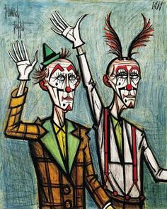 Bernard Buffet's oil painting Two Clowns With Their Arms Raised