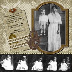 Teddy Jones ~ A strip of small vintage photos on the bottom border gives this simply designed digi page a sense of movement.