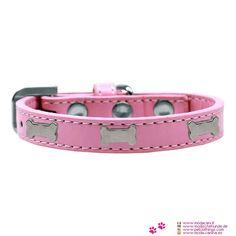 Collare per Cani in Rosa Chiaro con Ossetti - Collare per Cani Piccoli realizzato in similpelle di colore Rosa Chiaro, e decorato con Ossetti in metallo; fibbia decorata con strass