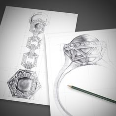 Concept illustrations for use in jewelry designers' portfolios.  Displayed next to the product photos showing process and artistry of each piece.