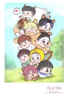 Baekhyun Fanart, Suho Exo, Kpop Fanart, Yixing Exo, Exo Ot12, Kpop Exo, Exo Cartoon, Exo Stickers, Exo Anime
