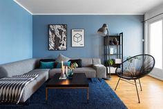 Blå stue med forskjellige blånyanser