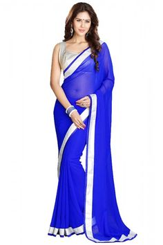 0610f1213aa Georgette Party Wear Designer Saree in Blue and White Colour Fancy Sarees