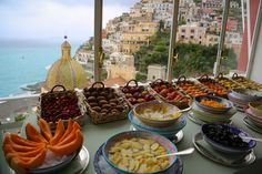 Fresh fruit overlooking the bay of Positano