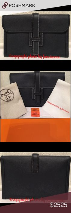 """Hermes Jige Clutch 29CM Epsom Leather Authentic Hermes Jige Clutch 29cm size can hold a lot!  Epsom Leather VERY DARK NAVY/LIGHT BLACK (SEE MY COMPARISON PHOTO NEXT TO MY BIRKIN, ARE VERY CLOSE IN COLOR.) White Contrast Stitching bought at the Hermes store in Paris worn only a few times at """"Celebrity Events on the Red Carpet"""" date stamped (see photo) Q from 2013 comes w its' Dust Bag Hermes Box Original Cost $3,525 ITEMS ARE 100% AUTHENTIC NO RETURNS PLEASE ASK ME QUESTIONS IF U R NOT SURE…"""